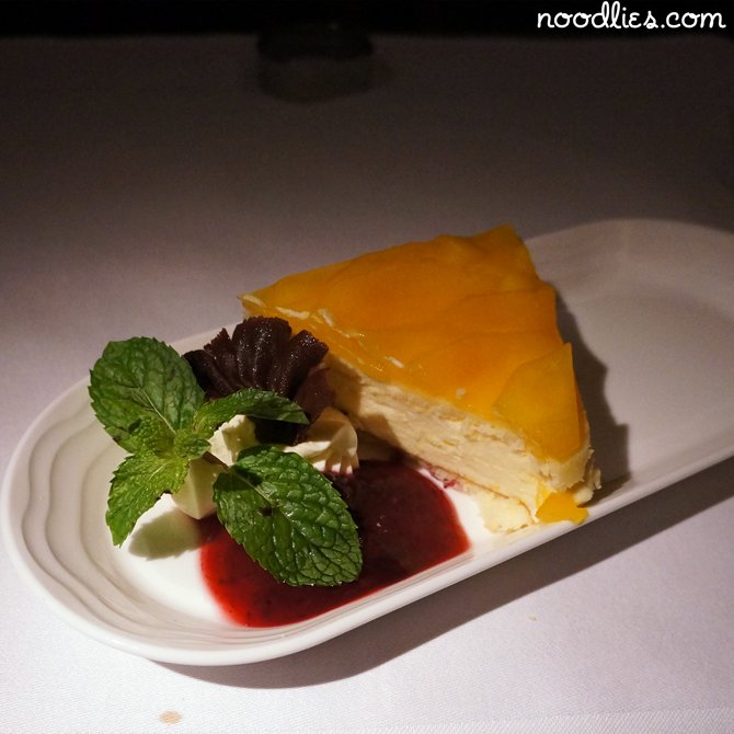 emirates business class mango flan cake