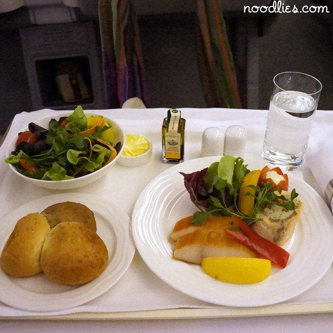 emirates business class salmon and sole roulade