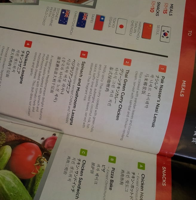 Air Asia food menu