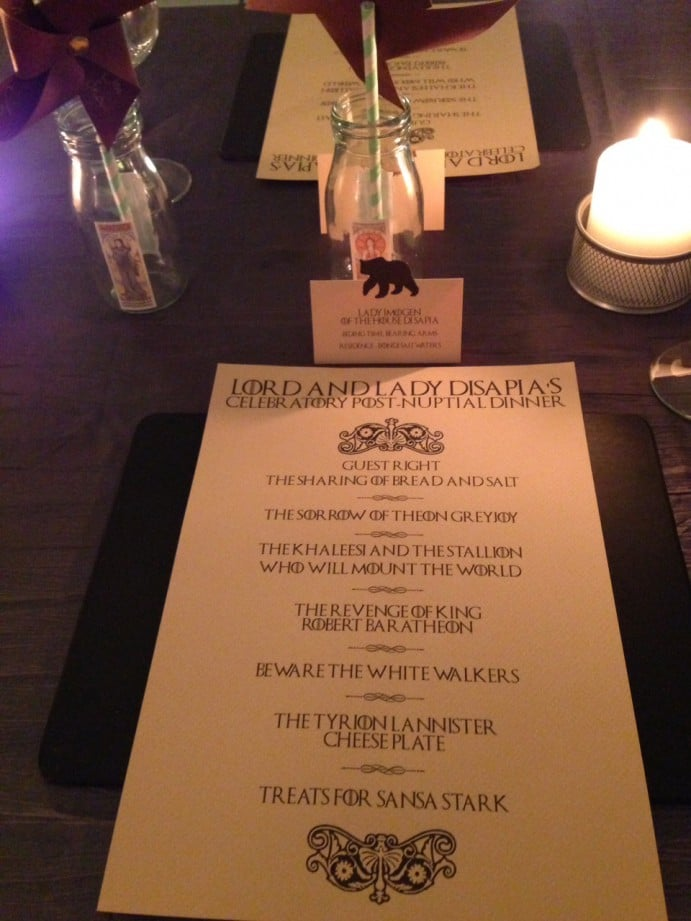 Game of Thrones Themed Dinner Menu Decorations