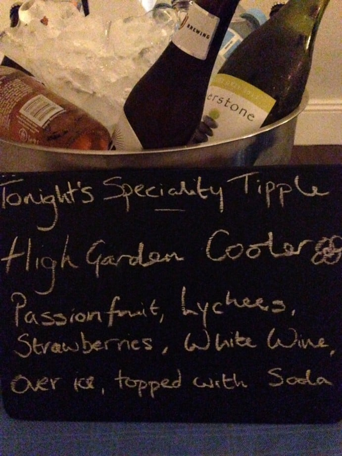 Game of Thrones Themed Dinner Menu Highgarden cooler cocktail