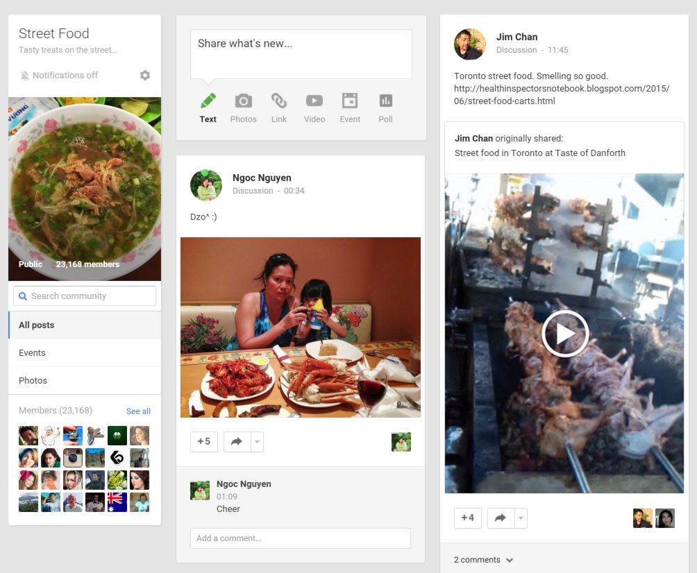 Google+ Street Food Community