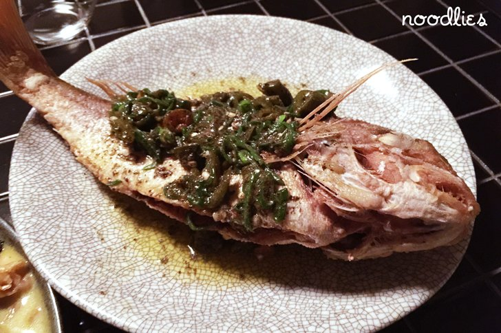Master surry hills whole snapper, pickled green chilli, black bean